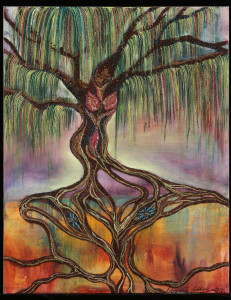 """""""SACRED TREE of LIFE"""" Mixed media, acrylic, herbs, spices, bark, glitter, beads on canvas $1000 SOLD"""